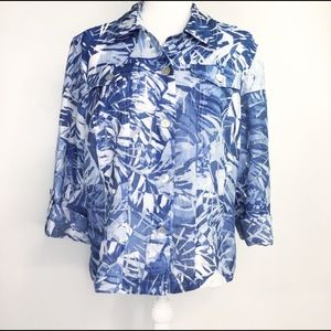 Ruby Rd Favorites Watercolor Print Blouse  VGC